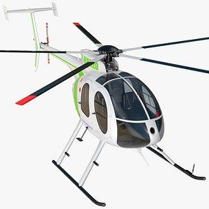 3D model MD 500E Light Utility Civilian Helicopter