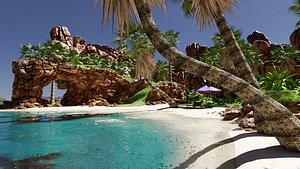 Tropical Beach Scene 3D model