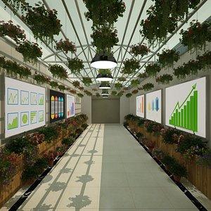 complete interior flower greenhouse 3D model