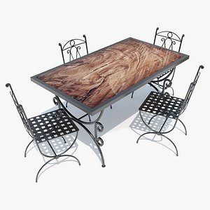 3D Iron-Wood Table and Chairs
