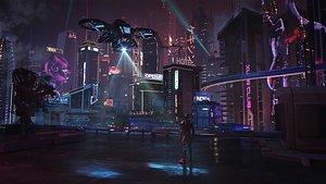 C4D Octane render Cyberpunk city 3D model