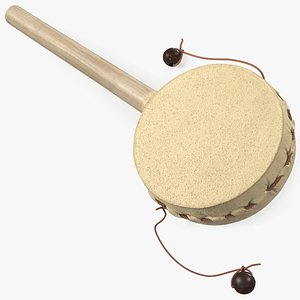 3D vintage rattle drum folk