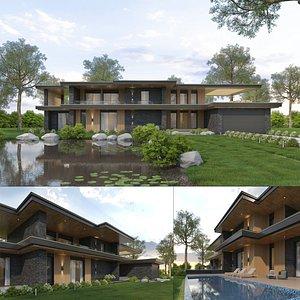 Lake House Villa Exterior and Interior 3D model