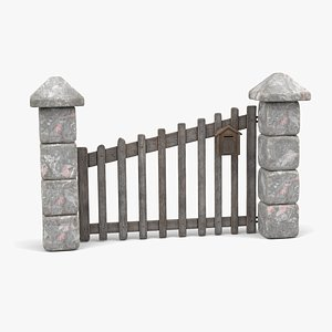 Wooden Door with Stone Walls and Mailbox model