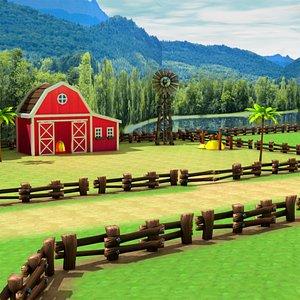 3D Low poly Farm Environment