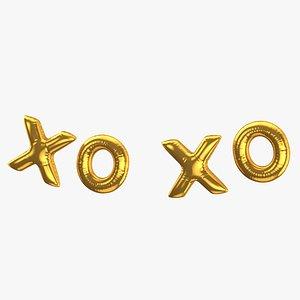 Foil Baloon Words XO XO Gold 3D model