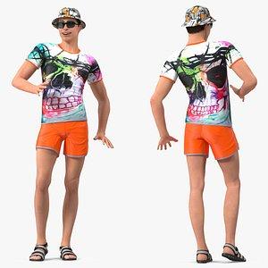 3D Teen Boy Swimwear Rigged for Modo
