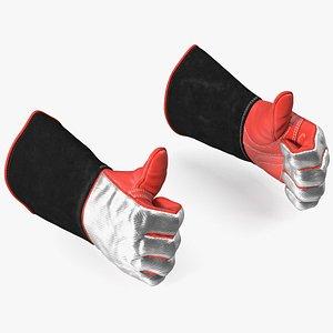 Heat Resistant Welding Gloves Thumbs Up Gesture 3D model