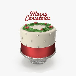 Christmas Cake with Topper Merry Christmas model
