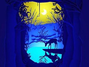 3D Nine color deer elk moonlight blue paper-cut deer drinking water lake water forest tree paper-cut be model