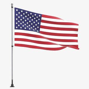 3D flag flagpole outdoor