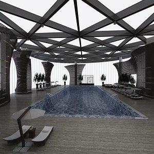3D Indoor Pool with Patio Set model