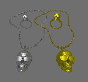 necklace ring skull 3D model