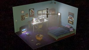80s retro room 3D model