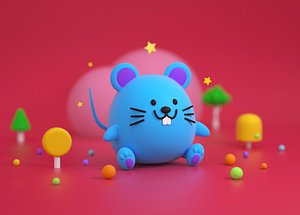 3D Mouse cartoon Blue Mouse Q edition Lowpoly Mascot IP image Year of the Rat model