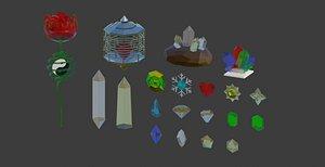 3D model gemstone diamond snow