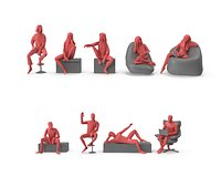 Low Poly Posed People Pack 22 - Sit And Relax