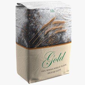 3D Wheat Flour Gold Bag 5lb model