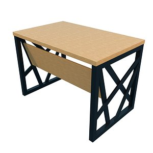 3D model Industrial Wood table - Office Table