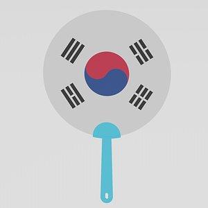 Korean Hand Fan 3D