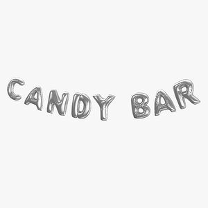 Foil Baloon Words Candy Bar Silver 3D model