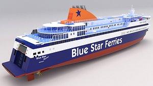 3D blue star ferries model