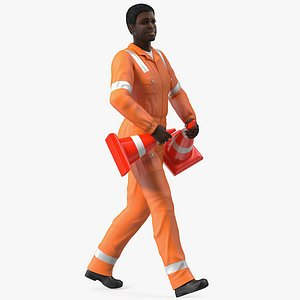 3D african american road worker