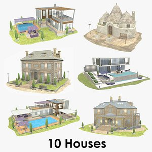 3D model House Collection XL - Low Poly - Textured