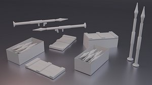 3D model Low Poly RPG and Crates