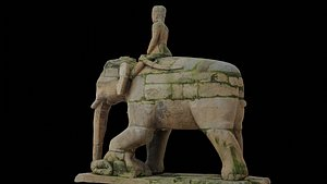 3D Ancient mounted elephant with 3 LOD - Nepal Heritage