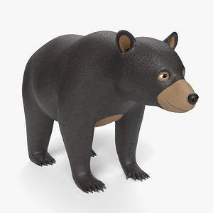 cartoon black bear 3D