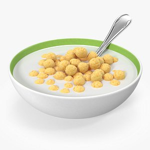 Cereal Balls in Bowl with Milk 3D