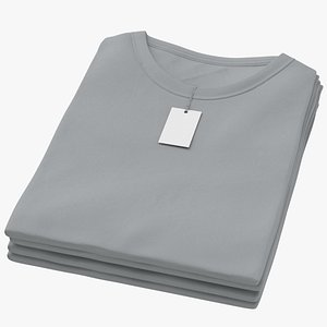 3D model Female Crew Neck Folded Stacked With Tag Gray