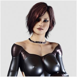 Redhead Woman in Leather Suit - Fully Rigged PBR 3D