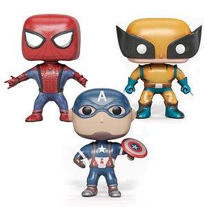 3 Funko Pop set of toys 3D