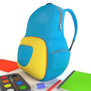 3D backbag bag kid model