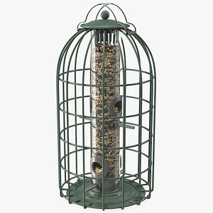 3D Caged Bird Feeder with Seeds model