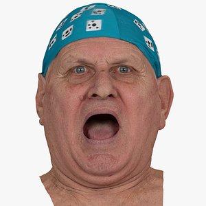 3D Homer Human Head Mouth Stretch AU27 RAW Scan model