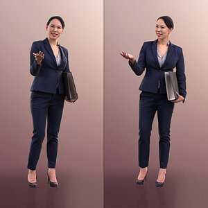 10554 Bao - Talking Business Woman With Folder 3D