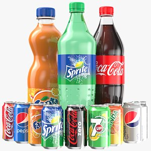 Soda Bottles And Cans Collection 3D