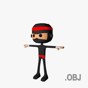 3D Ninja Man - OBJ - Low Poly Quad model