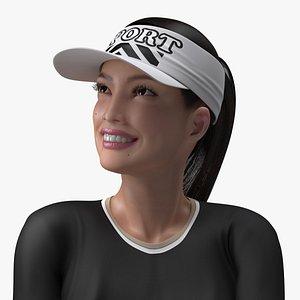 3D Asian Woman in Sportswear Rigged