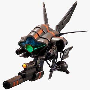 3D drone sci-fi alien model