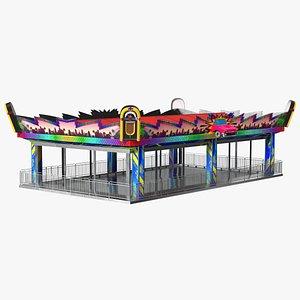 Bumper Cars Pavilion Platform Empty 3D model