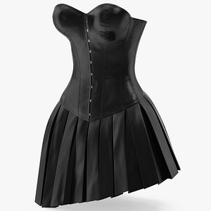 Leather Corset with Skirt 2 3D