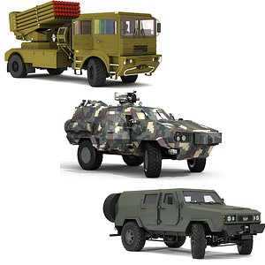 3D 3D military vehicle collection model