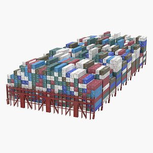 Cargo Shipping Containers Stacked 3D