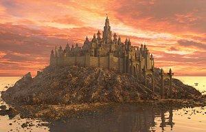 3D Fantasy City Castle Island model