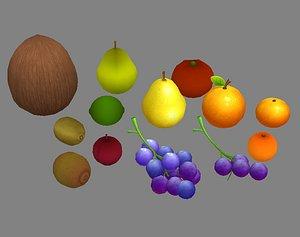 3D fruit grape lemon model