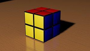 3D 2x2 Rubiks Cube model